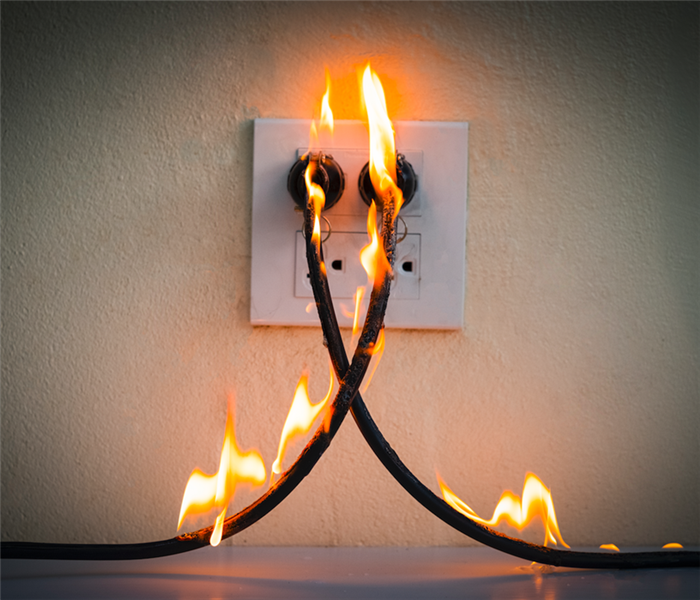 fire at an electrical outlet