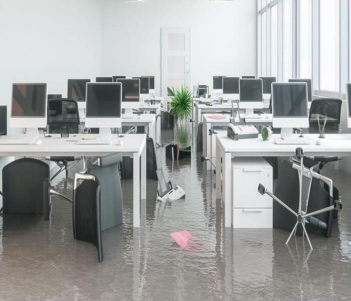 flooding in office with debris floating
